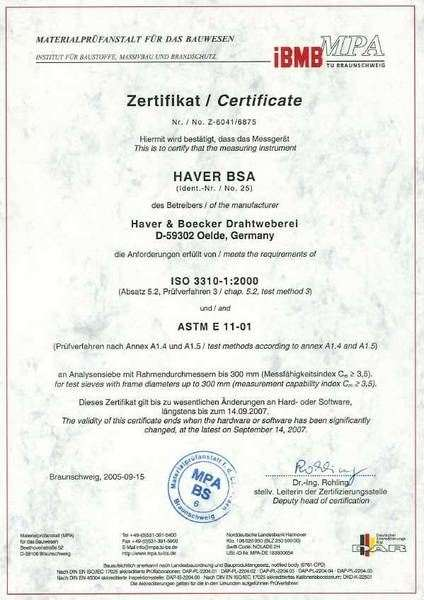Quality Control of Woven Wire Cloth and Test Sieves. Certificate of the MPA IBMB TU Braunschweig for the Measuring Instrument Haver BSA (Video-Analysis)
