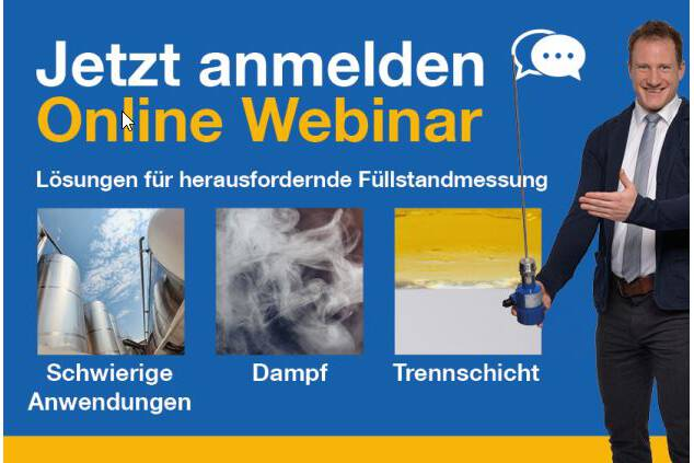 FREE Webinar TDR sensors in German Language on October 15th 2020 Solutions for tricky level measurement applications